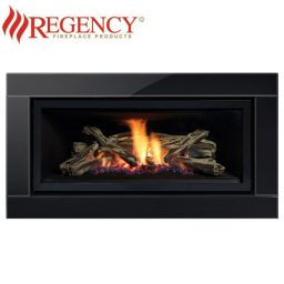 Regency GF900L GreenFire – Premium Black Glass Fascia & Logs