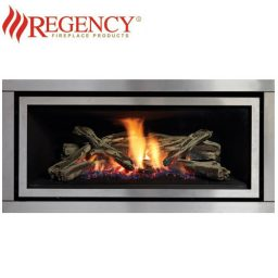 Regency GF900L GreenFire – S/Steel Brushed Fascia & Logs