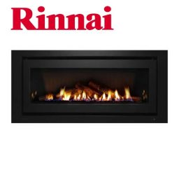 Rinnai 1250 Log Fire – Black Fascia w Logset – K1250B