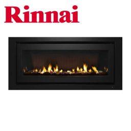 Rinnai 1250 Log Fire – Black Fascia w Stones – K1250BC