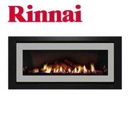 Rinnai 1250 Log Fire – S/Steel on Black Fascia w Logset – K1250S