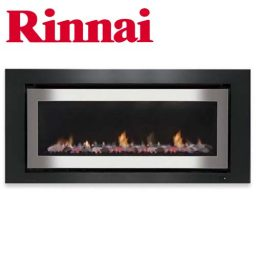 Rinnai 1250 Log Fire – S/Steel on Black Fascia w Stones – K1250SC