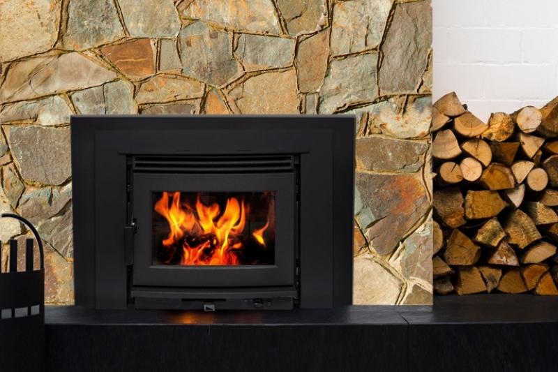 Neo 1.6 inbuilt wood heater black fascia