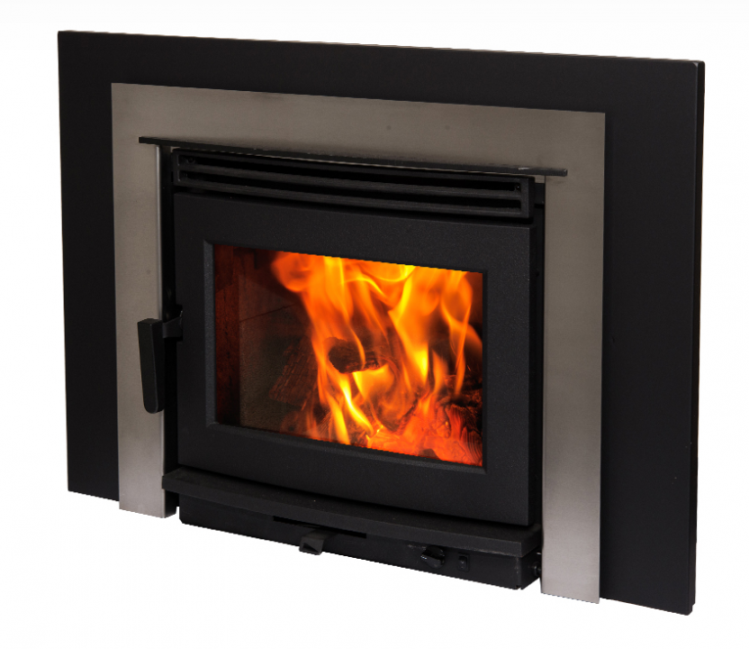 Neo 1.6 inbuilt wood heater stainless fascia