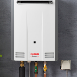 Rinnai Infinity 20 - Rinnai hot water displayed on a wall